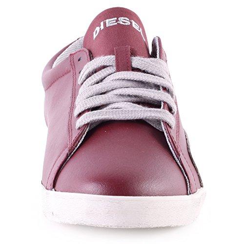 Diesel Bikkren Hommes En Cuir Bleu Lace Up Sneakers Chaussures Zinfandel / Paloma
