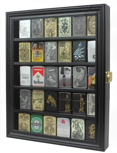 (Lockable Cigarette/Sport Lighter Display Case Wall Cabinet Shadow Box LC30 (Black))