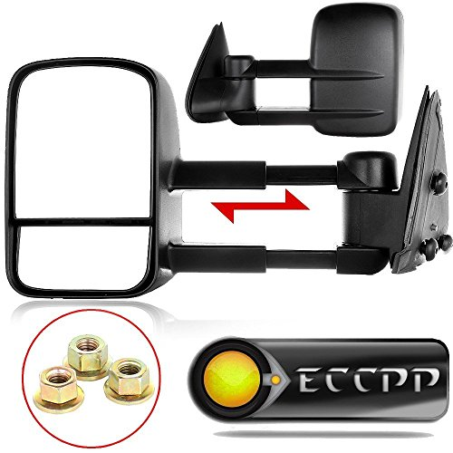 ECCPP Towing Mirrors Replacement fit for 2002-2006 Chevy Avalanche Silverado Tahoe Suburban GMC Sierra Yukon Yukon XL Black Manual Adjusted Side View Pair Mirrors