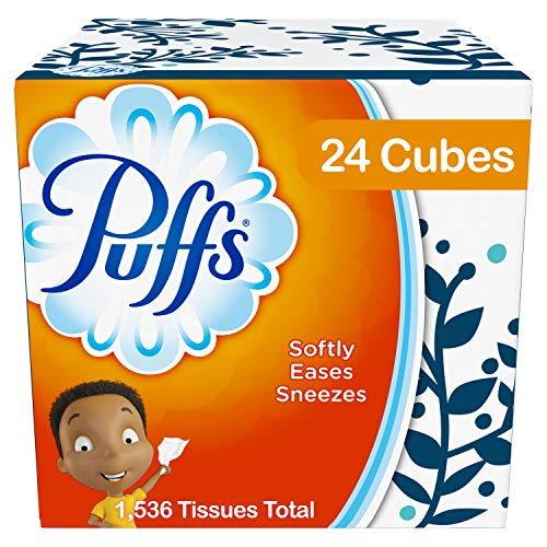Puffs, Everyday Non-Lotion Facial Tissues, 24 Cubes, 64 Tissues per - Boxed Facial Tissue