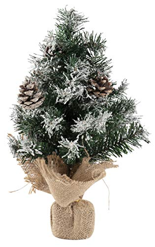 Juvale Mini Christmas Tree - Small 14.5-Inch Green Artificial Snow Flocked Pine Tree with Burlap Base, Includes Pine Cone Ornaments, Festive Holiday Home or Office Table Decoration, 14.5 Inches Tall