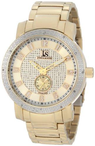 Joshua Sons JS-20 Men s Quartz Stainless Steel Casual Watch – Sunray Dial Genuine Diamond Bezel