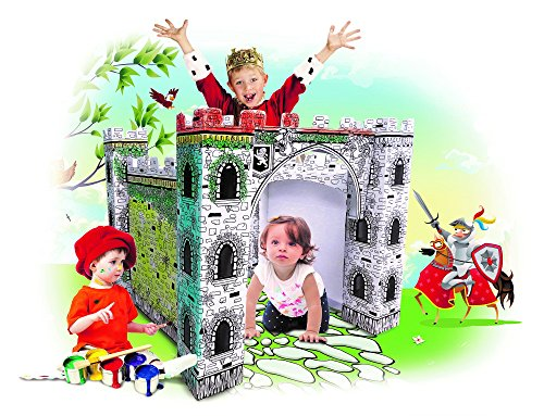 My Little Castle Cardboard Playhouse - Large Corrugated Color In Coloring Play House for Kids -3 x 3 x 3 Feet - Easy Assembly, Fast Fold - by Spiritoy ()