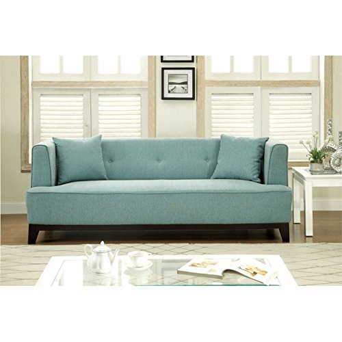 Furniture of America Waylin Tufted Fabric Sofa in Light Blue