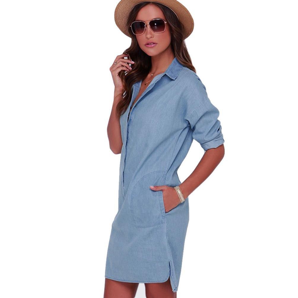 82c7cf0bd4 OverDose mujer De Manga Larga con Cuello En V BotóN Cuello Alto Azul Simple  Vaquero Fresco Corto Vestido De OtoñO (S