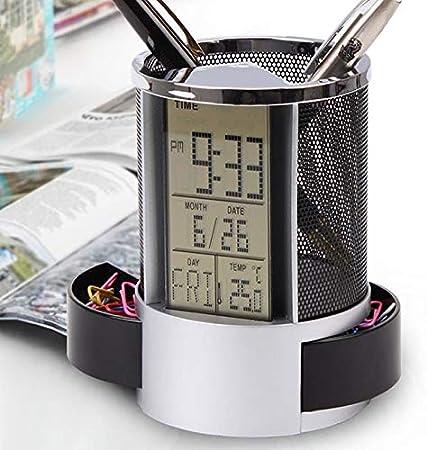con sveglia e righello in rete Portapenne multifunzione timer e termometro astuccio in metallo orologio organizer da tavolo sveglia digitale LCD da scrivania blu nero calendario Blu
