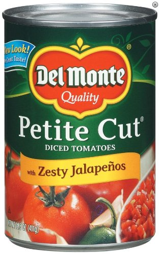 - Del Monte Petite Cut Diced Tomatoes with Zesty Jalapeños, 14.5 Oz, 12 Pack