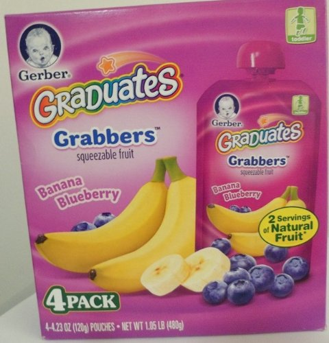 Gerber Graduates Grabbers Banana Blueberry 4-4.23 Oz Pouches (Pack of 2)
