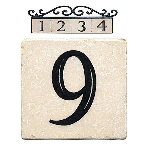 Nach az classic house address number tiles 6 9 marble for Classic house number plaque
