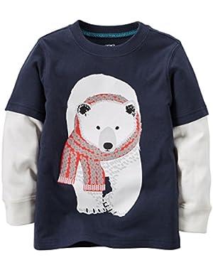 Carter's Boys L/S Layered-Look Polar Bear Tee; Navy, 3 Months