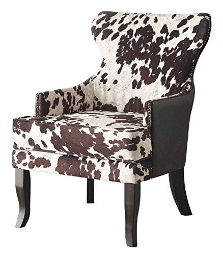 Nspire 403-795BN Faux Cowhide Fabric Leather Accent Chair with Stud Detail, Brown