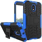 Chevron Hybrid Military Grade Armor Kick Stand Back Cover Case for Motorola Moto E3 Power/Motorola Moto E (3rd gen), Moto E3 (Blue)