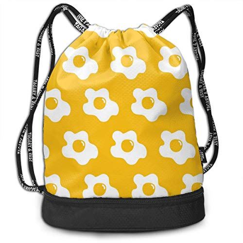 Address Verb Drawstring Backpack with Pocket Multifunctional Sturdy Egg Fried Yellow Sackpack Sports Gym Shoulder String ()