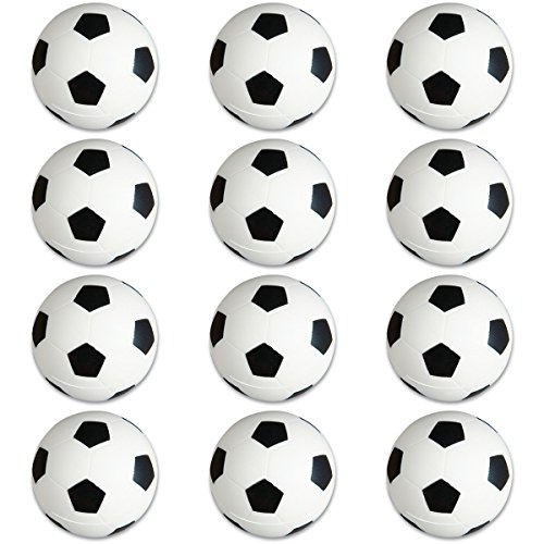 Soccer Sports Stress Balls Bulk Pack of 12 Relaxable 2'' Stress Relief Soccer Squeeze Balls by Off the Wall Toys