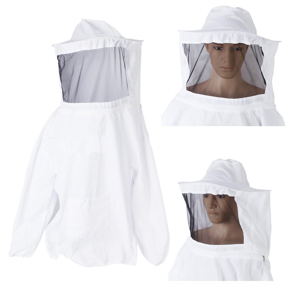 HLPB White Veil Bee Protecting Suit Smock Dress Equipment Coat Beekeeping Jacket With Protective Veil Smock