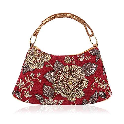Flower Women Prom Handbag Fashion Banquet Yellow Bag Clutch Red Evening Purse Dabixx Party Beaded xvS4wS5B