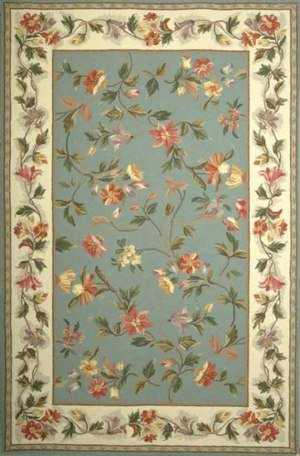 Kas Rugs 1728 Colonial Floral Oval Area Rug, 7-Feet 9-Inch by 9-Feet 9-Inch, Slate Blue/Ivory