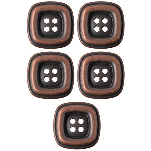 Square Shape With Raised Rim 4 Hole ABS Metal Plated Button 54Line Antique Copper (Silver Plated Raised)