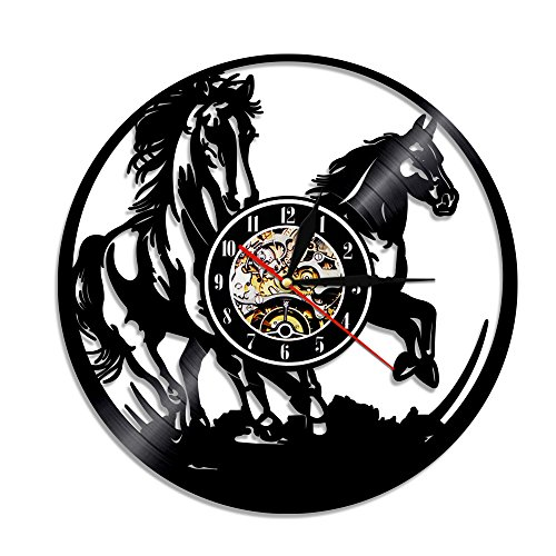 Black Horses Vinyl Wall Clock Galloping Racing Horse