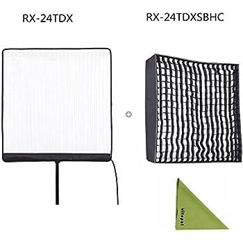 Falcon Eyes RX-24TDX 150W Roll-Flex LED Light with RX-24TDXSBHC Honeycomb Grid Softbox Bi-Color Dimmable 3000K-5600K Light Compatible with DMX 512(24TDX+RX-24TDXSBHC)