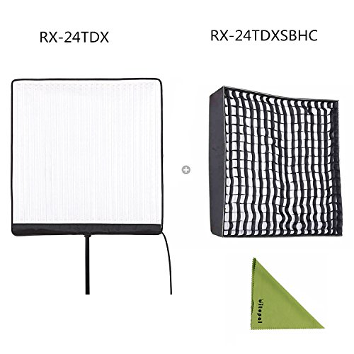 Falcon Eyes RX-24TDX 150W Roll-Flex LED Light with RX-24TDXSBHC Honeycomb Grid Softbox Bi-Color Dimmable 3000K-5600K Light Compatible with DMX 512(24TDX+RX-24TDXSBHC) by Falcon Eyes