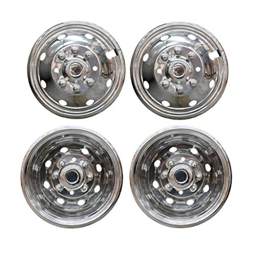 MGPRO 4pcs For Front+Rear Polished Stainless Steel 16in. Dually 8 Lug 8 Hand Hole Wheel Simulators Hub Caps Skins Liners Covers with Installation kits & Tools
