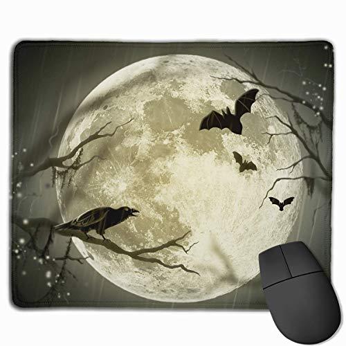 Customized Design Rectangle Non-Slip Rubber Gaming Mousepad (Halloween Moon Illustration Art)