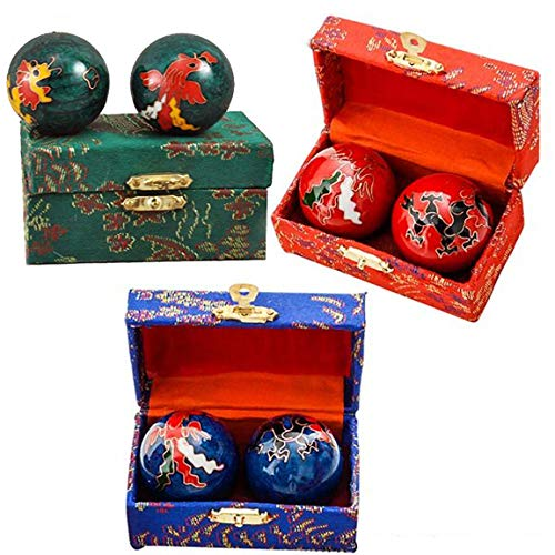 Acupuncture Health Balls - Happy Sales HSHB-DRPX, Chinese Health Balls Baoding Iron Ball, Dragon & Phoenix