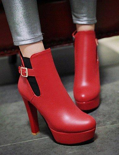 XZZ/ Damen-Stiefel-Kleid-Kunstleder-Blockabsatz-Modische Stiefel-Schwarz / Rot / Grau red-us6.5-7 / eu37 / uk4.5-5 / cn37