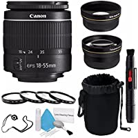 Canon EF-S 18-55mm f/3.5-5.6 III Lens (International Model no Warranty) + 58mm 2x Telephoto Lens + 58mm Wide Angle Lenses + 58mm Macro Close Up Kit 6AVE Bundle 4