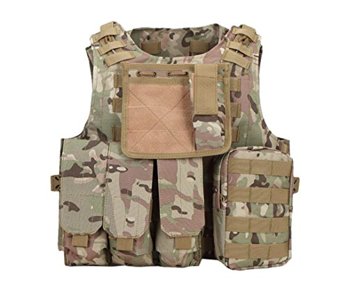 Deluxe Shooting Vest - Invenko Trainning Tactical Airsoft Paintball Combat Swat Assault Army Shooting Hunting Outdoor Molle Police Vest (plain camo)