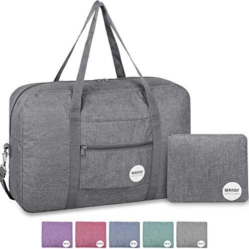Duffle Travel Tote Bag Luggage - Wandf Foldable Travel Duffel Bag Luggage Sports Gym Water Resistant Nylon (Light Gray 2019)