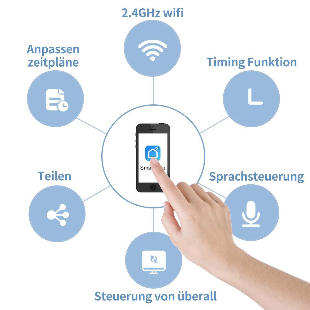 Smart Prise swa1/Mini Smart Plug Anti Surge intelligente sans fil WiFi Prise Compatible avec Alexa et Google Home avec App Contr/ôle pour iOS et Android partout et /à tout moment