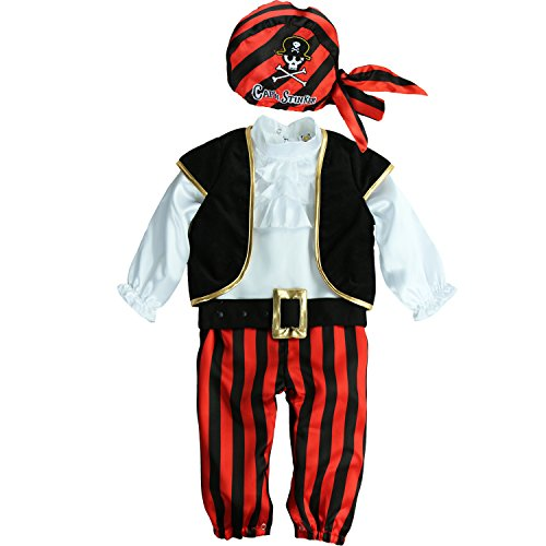 [Mengbeibei Unisex Baby Cap'N Stinker Pirate Costume Halloween Cosplay Infant Set (24-36 Months)] (Halloween Costumes 36 Months)