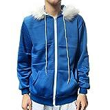 MaeFte Sans Cosplay Hoodies Unisex Bule Jacket Hooded Sweatshirt (L, Blue)