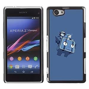 Sony Xperia Z1 Compact / Z1 Mini (Not Z1) - Metal de aluminio y de plástico duro Caja del teléfono - Negro - Flying P0Kemon Characters
