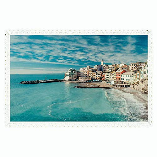 iPrint Farm House Decor,Rectangle Polyester Linen Tablecloth/Panorama of Old Italian Fish Village Beach Old Province Coastal Charm Image/for Dinner Kitchen Home Décor,60