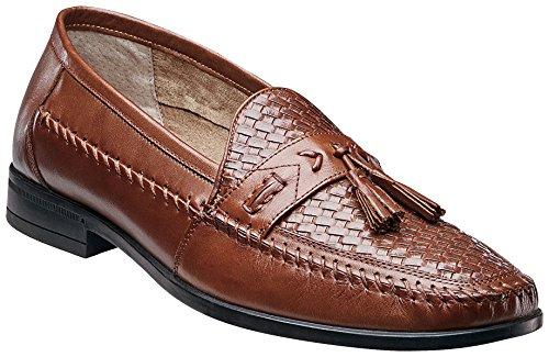 Nunn Bush Mens Strafford Woven Tassel Loafer Shoes-7.5 Cognac Brown