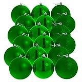 18 grüne (matt, glänzend, glitzernd) Weihnachtskugeln
