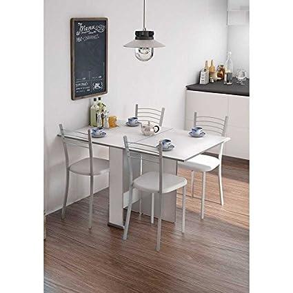 Mesa cocina comedor salon oficina extensible con 2 alas BLANCA ...