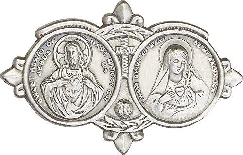 - Antique Silver Jesus / Mary Visor Clip