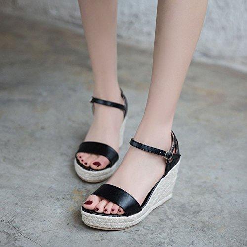 COOLCEPT Mujer Moda Ankle Strap Sandalias Punta Abierta Tacon de cuna Zapatos Negro