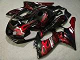 Black with Red Flame Complete Fairing Bodywork Cowl kit f...