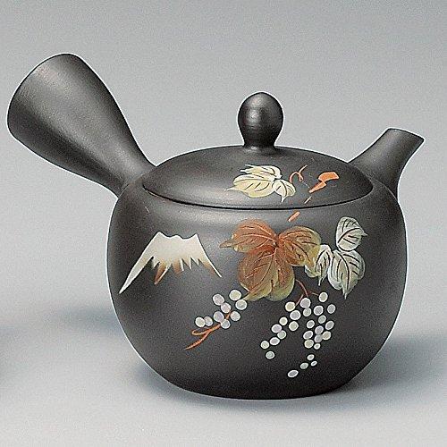 Yamakiikai Tokoname Black Kyusu(Japanese teapot) Japanese Leafs pattern with a strainer 290cc M542 from Japan