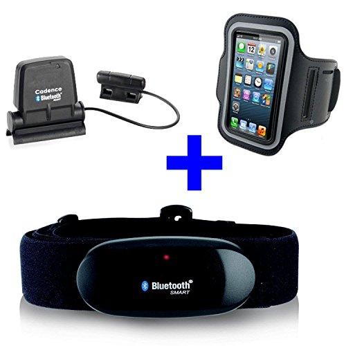 BlauTOOTH BRUSTGURT+ ARMBAND iPhone + SPEED CADENCE BlauTOOTH Sensor für iPhone 4S   5   5C   5S   6   6S   7 für RUNTASTIC , WAHOO App - Trittfrequenzsensor und Geschwindigkeitsmesser