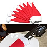 Lucrative shop 4x Christmas Hat Silverware Holder Mini Red Santa Claus Cutlery Polyester Bags