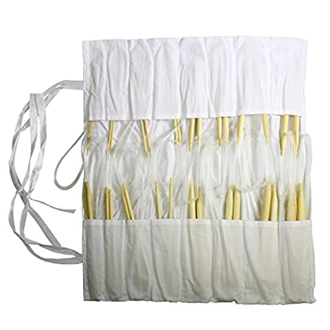 16 Piece Circular Bamboo Knitting Needle Set by Curtzy - 8 Pairs of 100cm (39.4 Inch) Wooden Knitting Needles - Sizes 2mm - 12mm in Cotton Storage Case. Perfect for Beginners & Experienced (Large Needle Point Set)