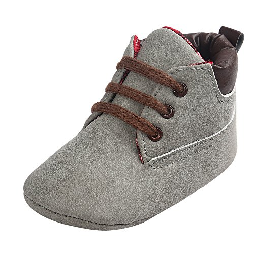 Toddler Baby Boy's Boots Baby Lace up Snow Leather Sneaker Soft Flat Ankle Shoes (6-12 Months, Gray)