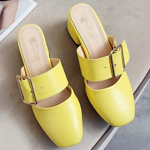 Zanpa Women Fashion Heels Mules Sandals 1#Yellow u5nip