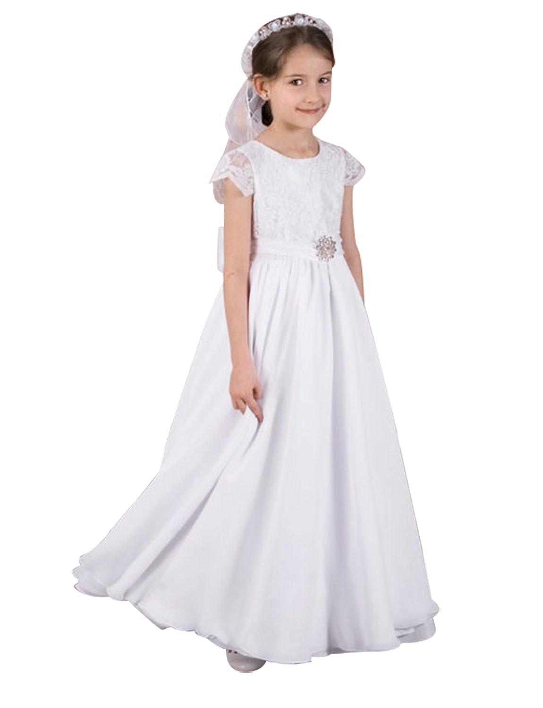 Izanoy Izanoy Mädchen Chiffon Erste Kommunion Kleider lange ...